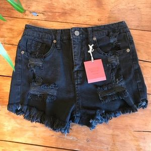 Mossimo black high rise distressed denim shorts